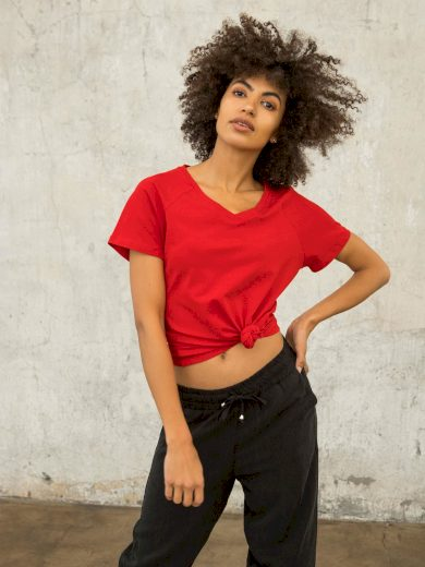 Červené tričko FOR FITNESS s výstřihem do V