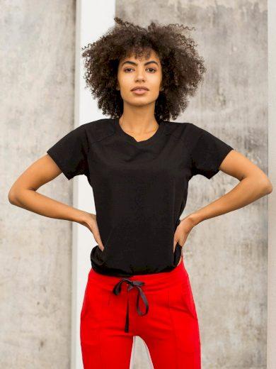 Černé tričko FOR FITNESS s výstřihem do V