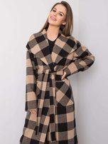 Béžový a černý kostkovaný plášť