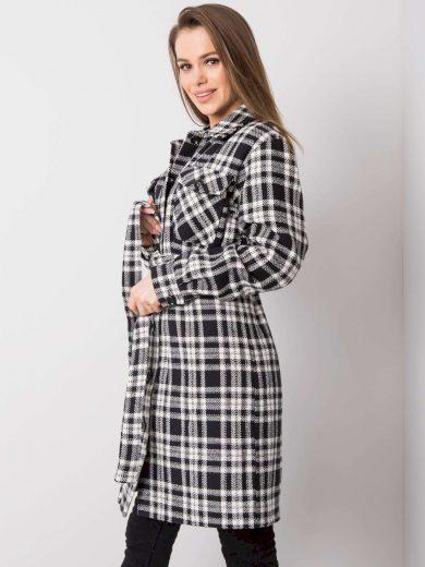 Kostkovaný dámský černobílý kabát