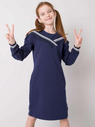 Tmavě modré dívčí mikinové šaty