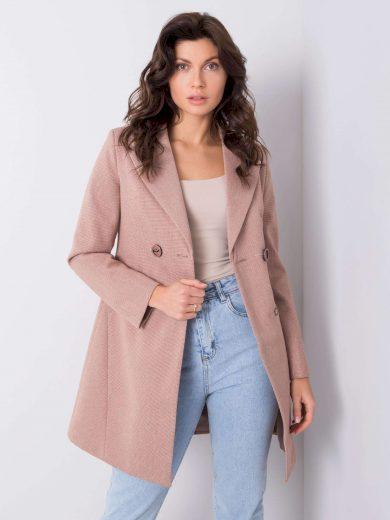 Dámský růžový kostkovaný kabát