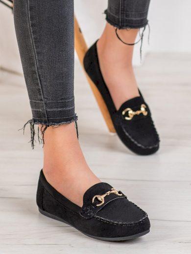 Klasické dámské černé  mokasíny bez podpatku