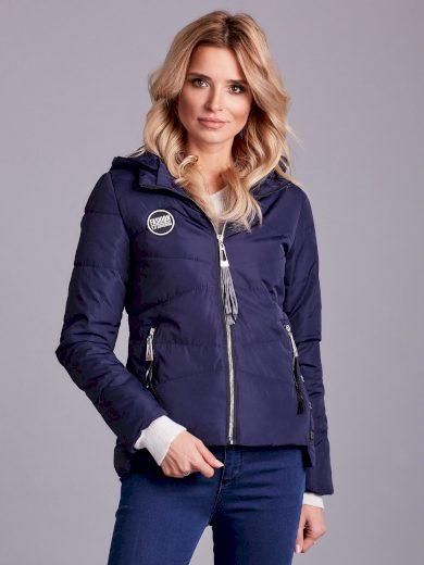 Přechodná bunda s kapucí, tmavě modrá
