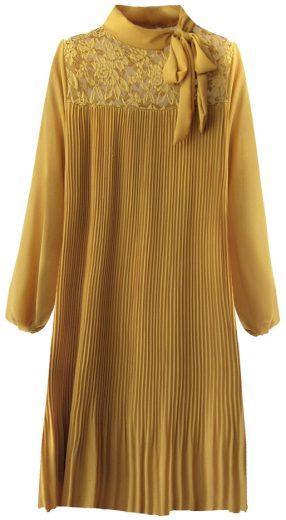 Dámské šaty v hořčicové barvě s krajkou a plisováním (245ART)