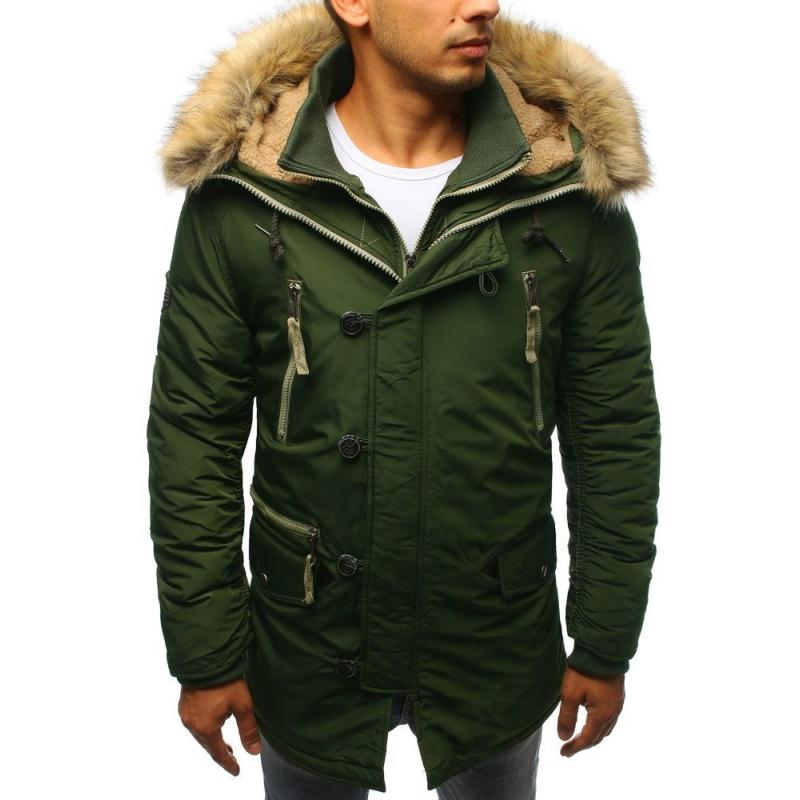Pánská MODERN bunda parka zimní zelená
