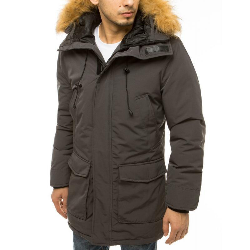 Pánská zimní bunda s kapucí šedá tx3607