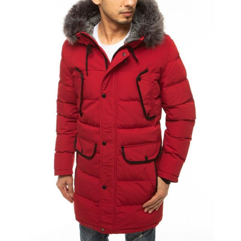 Pánská zimní bunda s kapucí prošívaná bordó tx3614