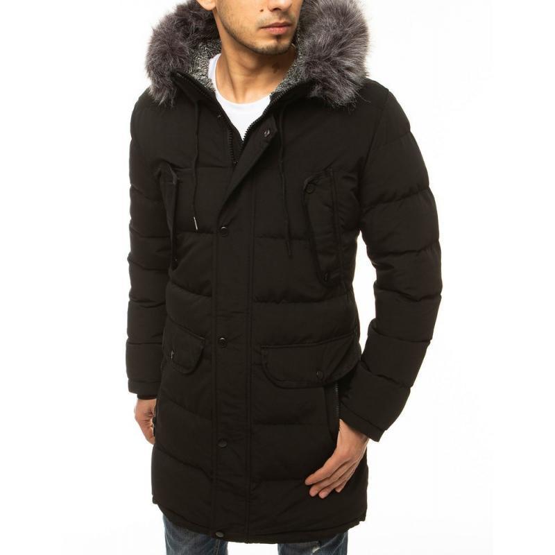 Pánská zimní bunda s kapucí prošívaná černá tx3613