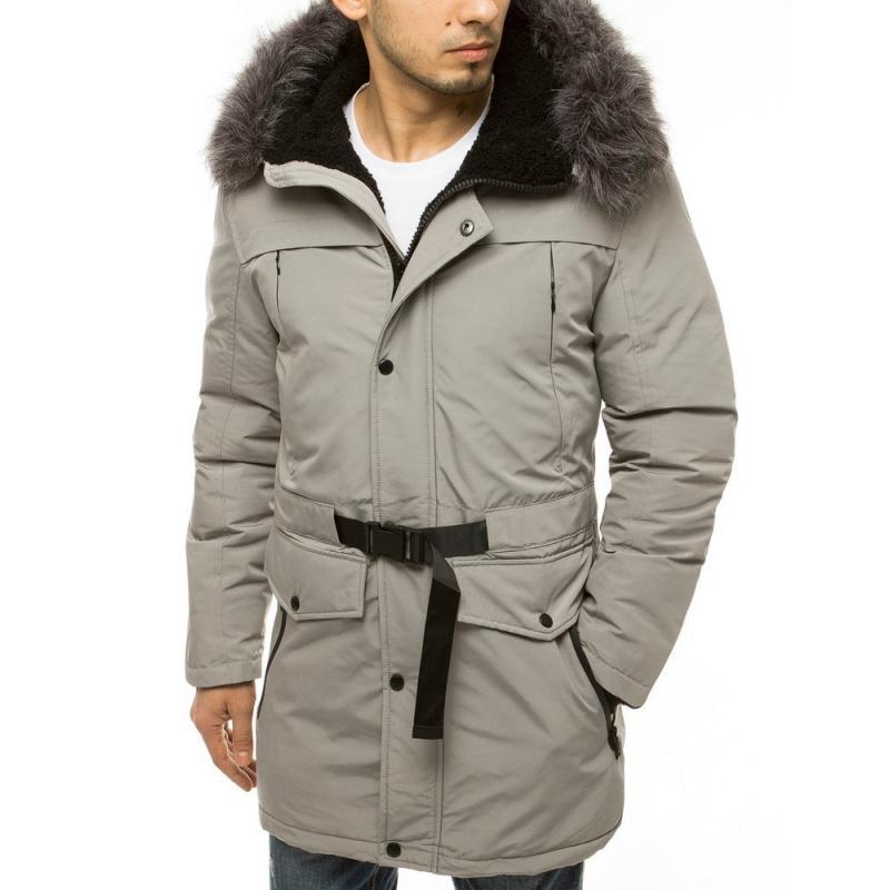 Pánská zimní bunda s kapucí šedá tx3609