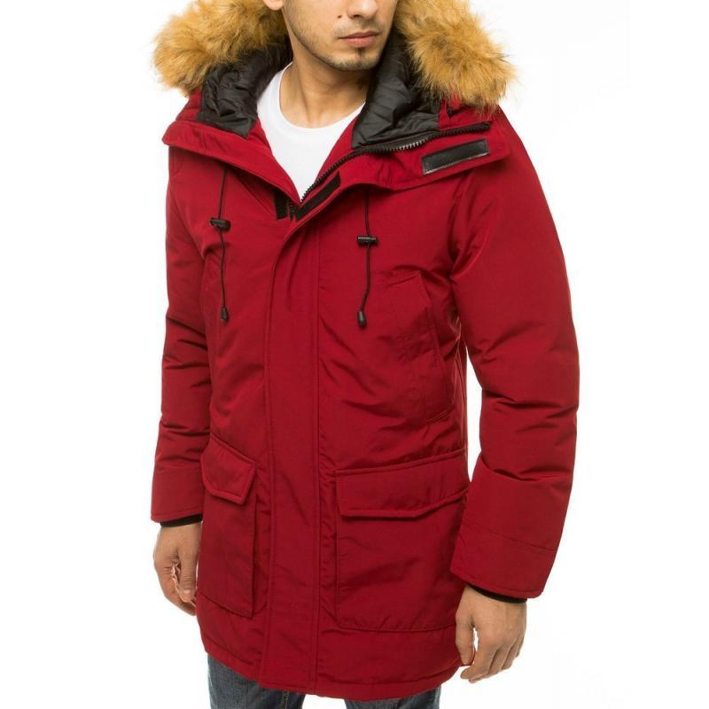 Pánská zimní bunda s kapucí červená tx3606