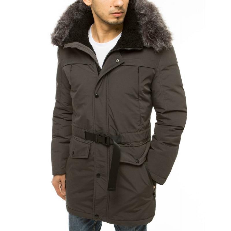 Pánská zimní bunda s kapucí tmavě šedá tx3611
