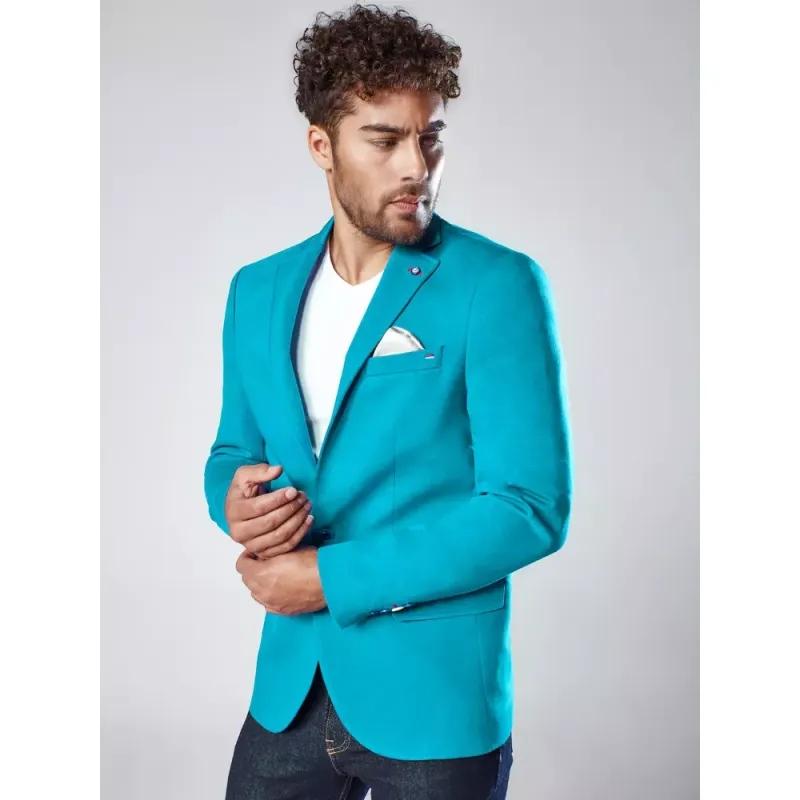 Pánské sako světle nebesky modré SOCIAL