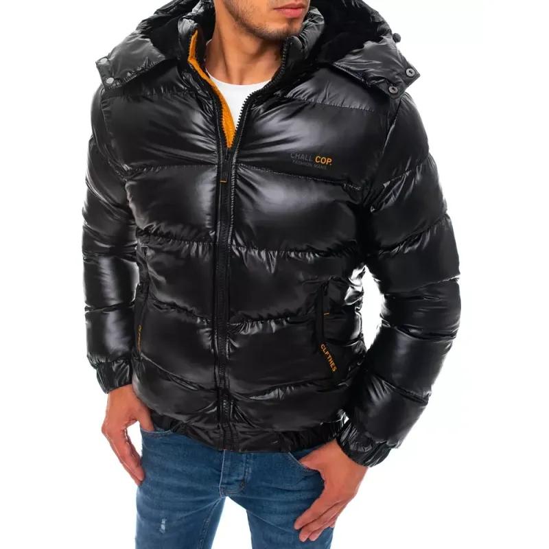 Pánská zimní bunda prošívaná s kapucí černá WINTER