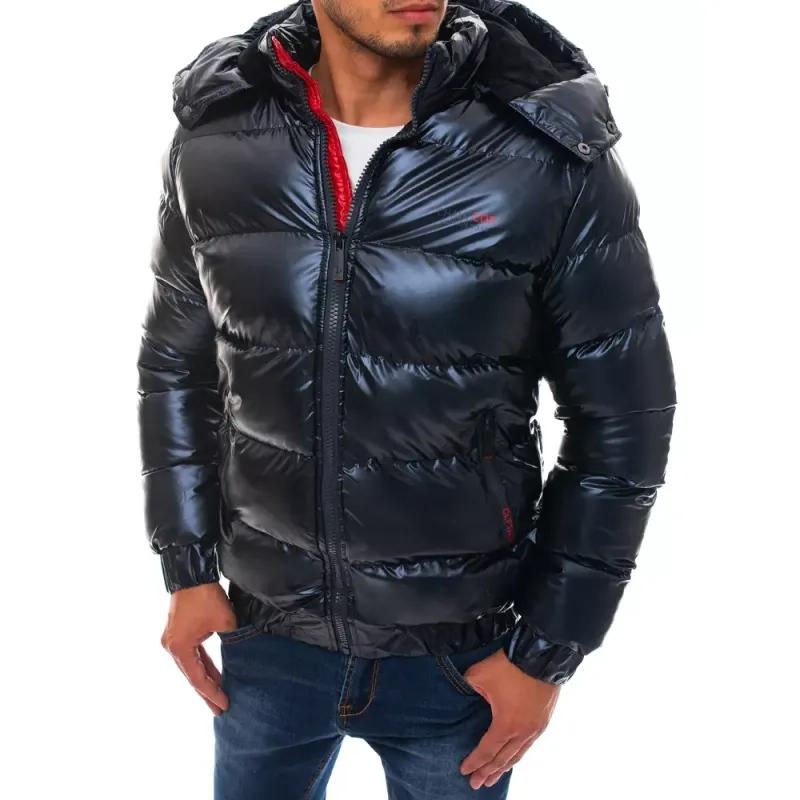 Pánská zimní bunda prošívaná s kapucí modrá WINTER