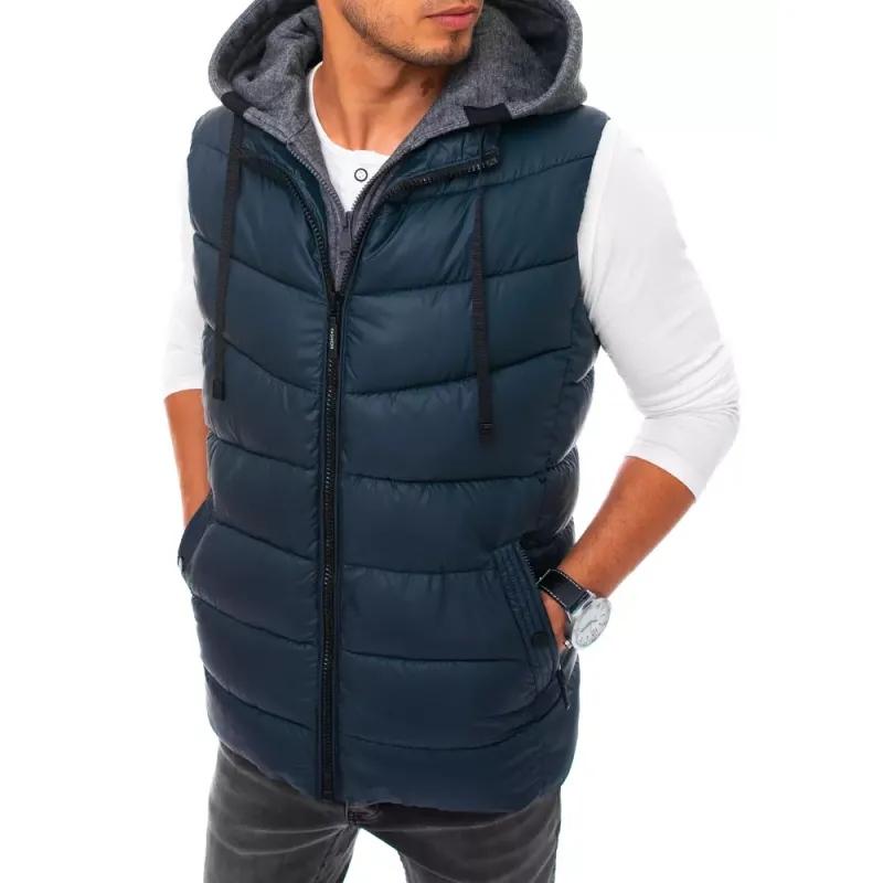 Pánská vesta s kapucí prošívaná tmavě modrá FALL