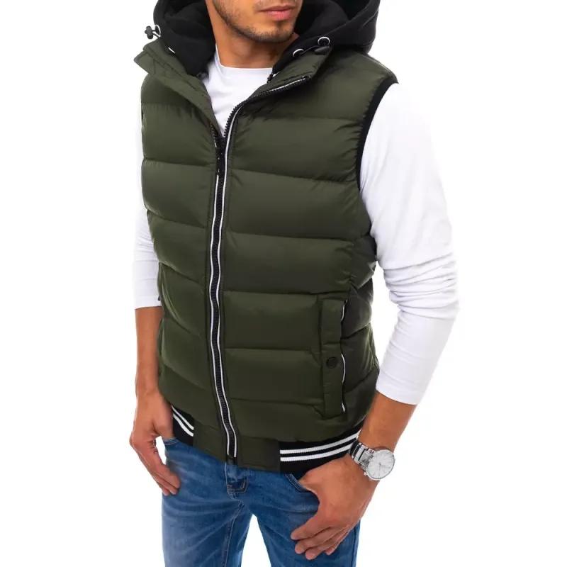 Pánská vesta s kapucí prošívaná zelená STYL