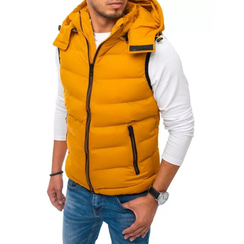 Pánská vesta s kapucí prošívaná žlutá