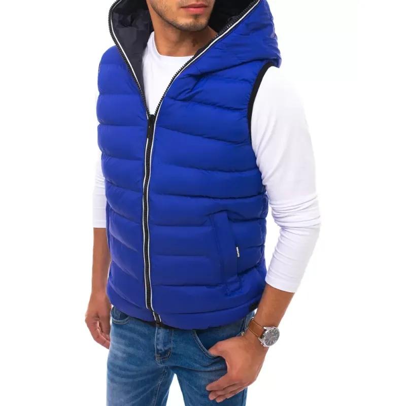 Pánská prošíváná vesta s kapucí modrá WINTER