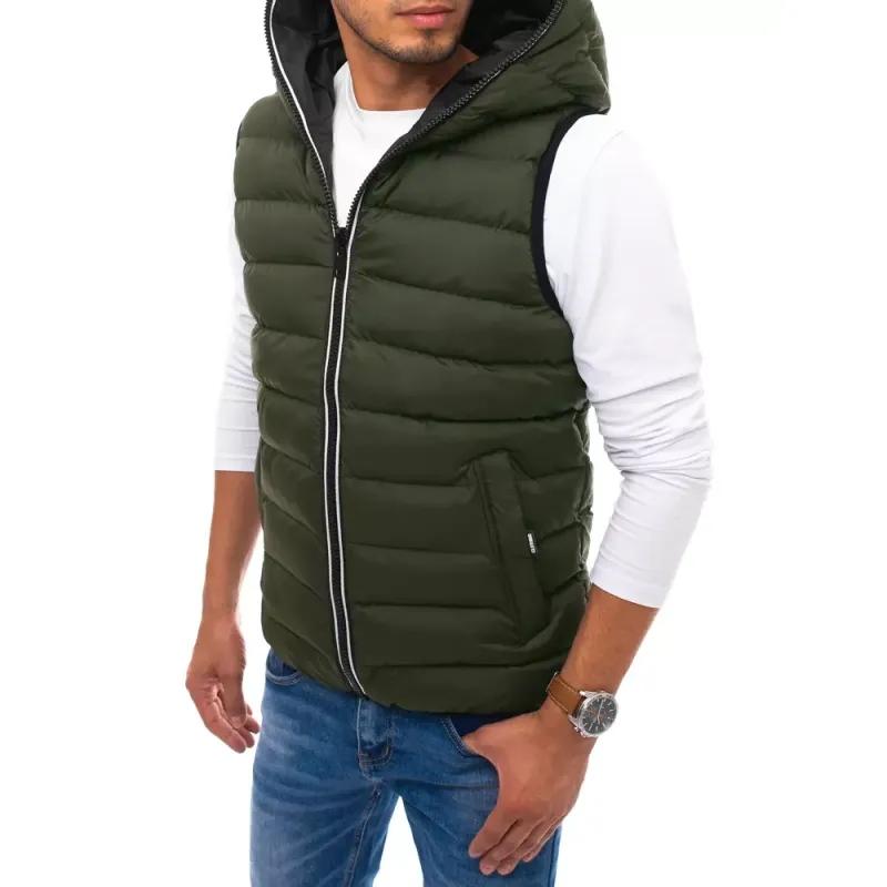 Pánská prošíváná vesta s kapucí zelená WINTER