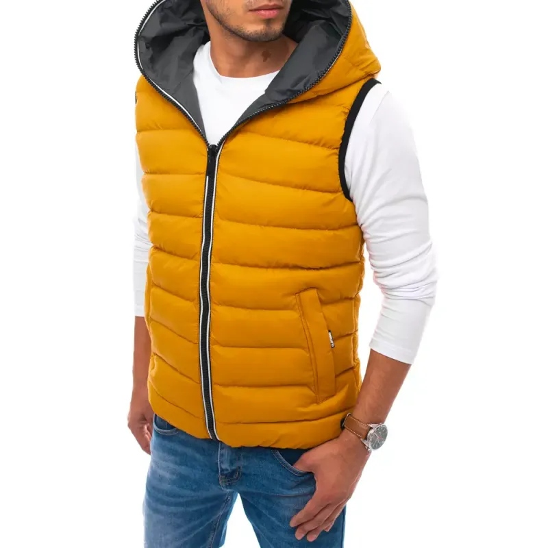 Pánská prošíváná vesta s kapucí žlutá WINTER