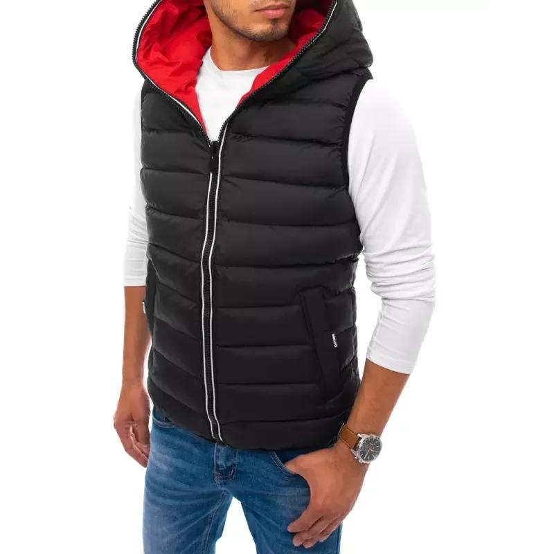 Pánská prošíváná vesta s kapucí černá WINTER