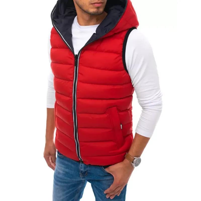 Pánská prošíváná vesta s kapucí červená WINTER