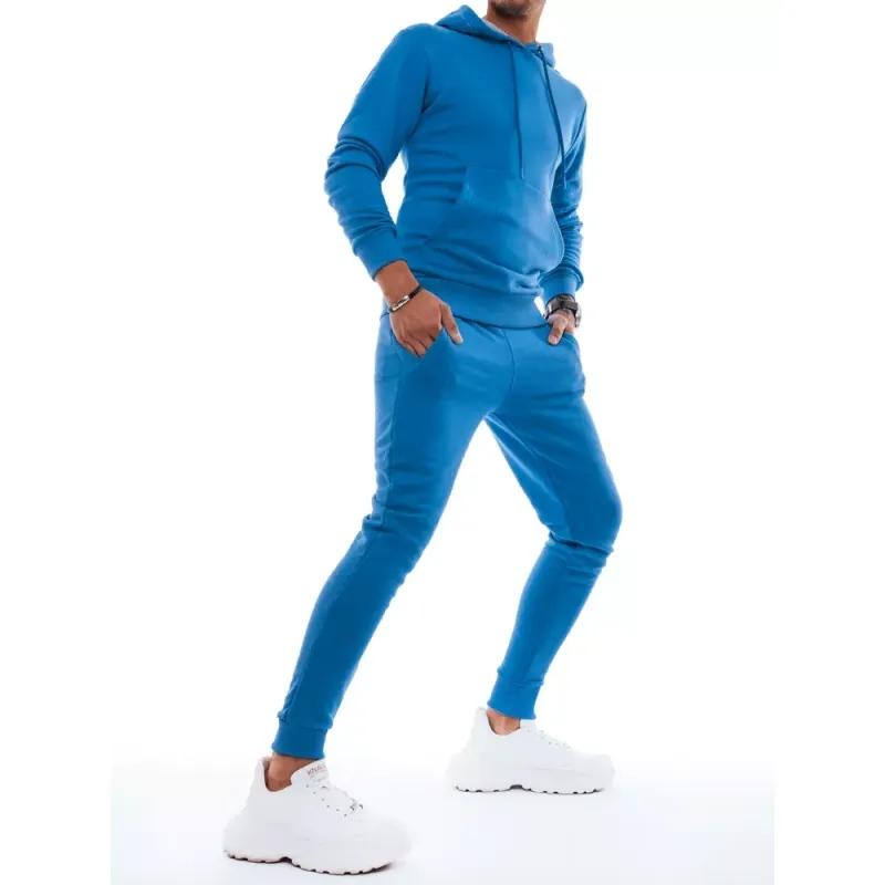 Pánská tepláková souprava s kapucí modrá