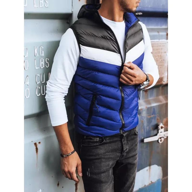 Pánská vesta prošívaná s kapucí modrá LINE