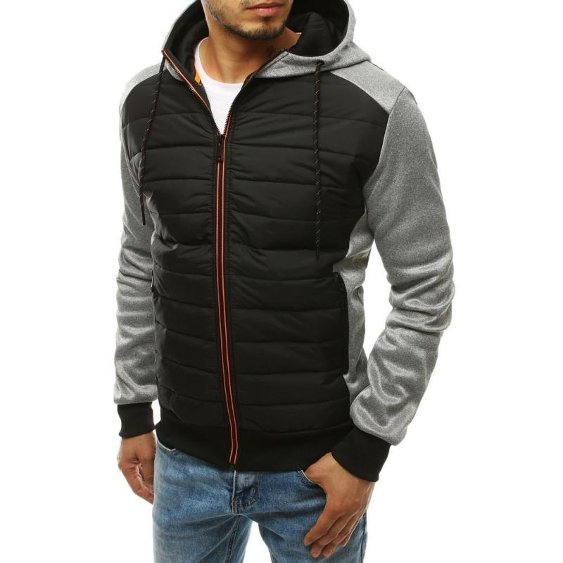 Pánská zimní bunda přechodová prošívána s kapucí šedá