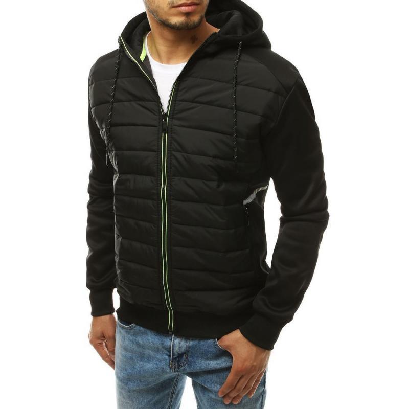 Pánská zimní bunda přechodová prošívána s kapucí černá