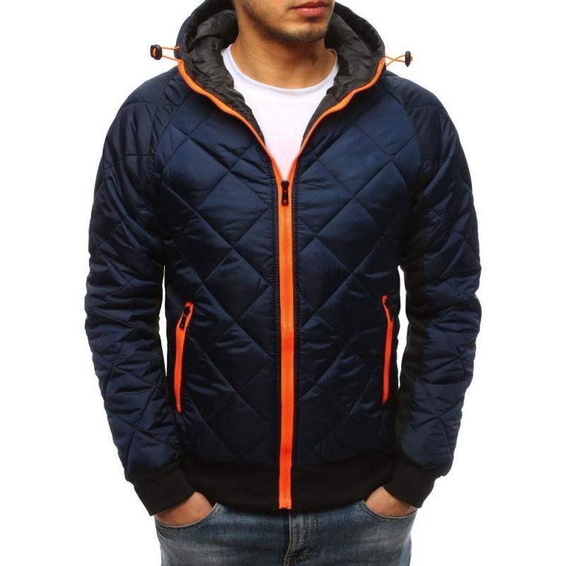 Pánská zimní bunda přechodová prošívána s kapucí modrá STYLE