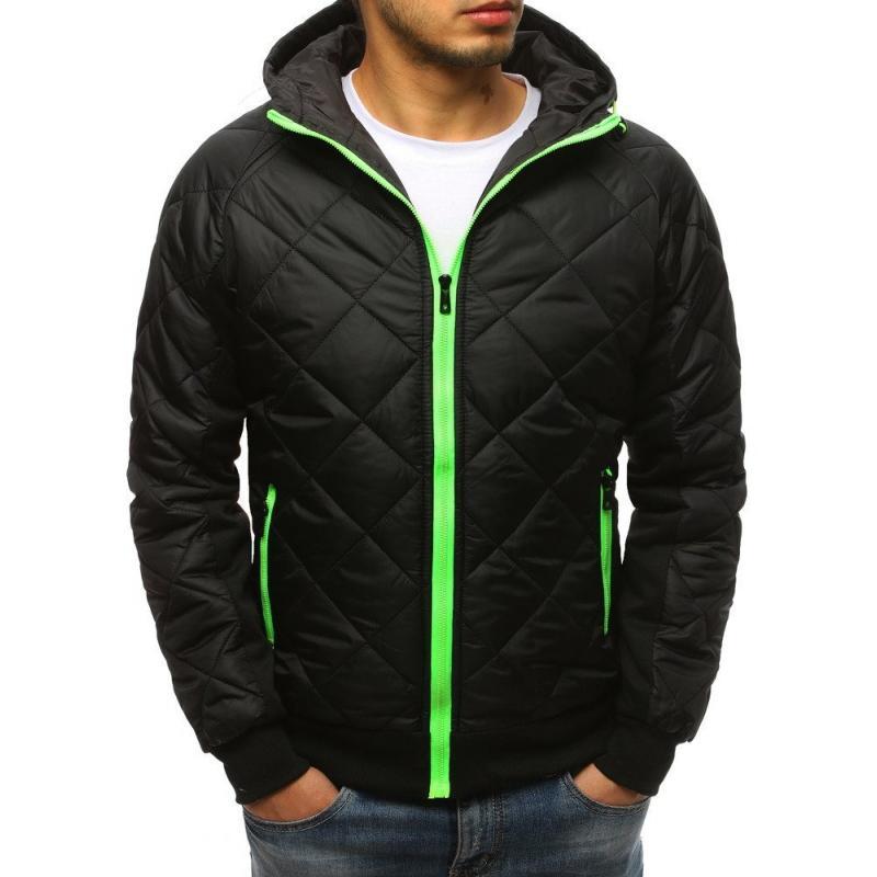 Pánská zimní bunda přechodová prošívána s kapucí černá STYLE