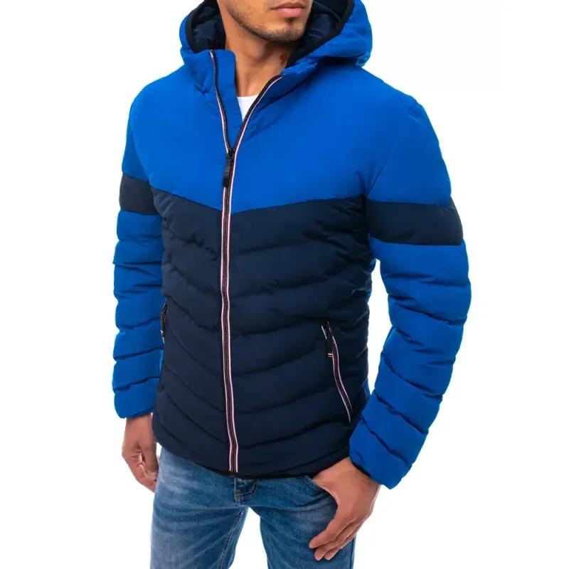 Pánská bunda prošívaná s kapucí modrá