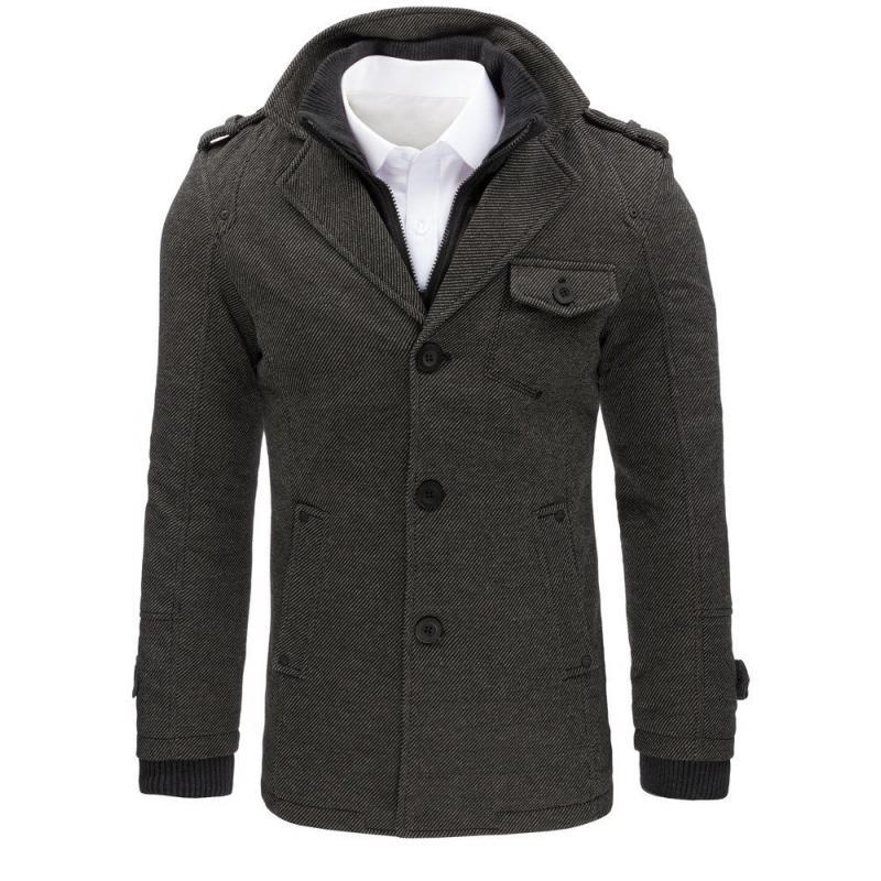 Pánský kabát stylový šedý