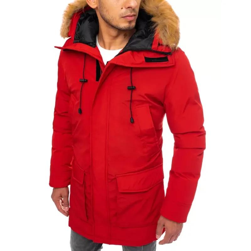 Pánská zimní parka s kapucí  červená JOY