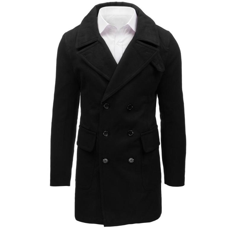 Černý pánský zimní dvouřadý kabát