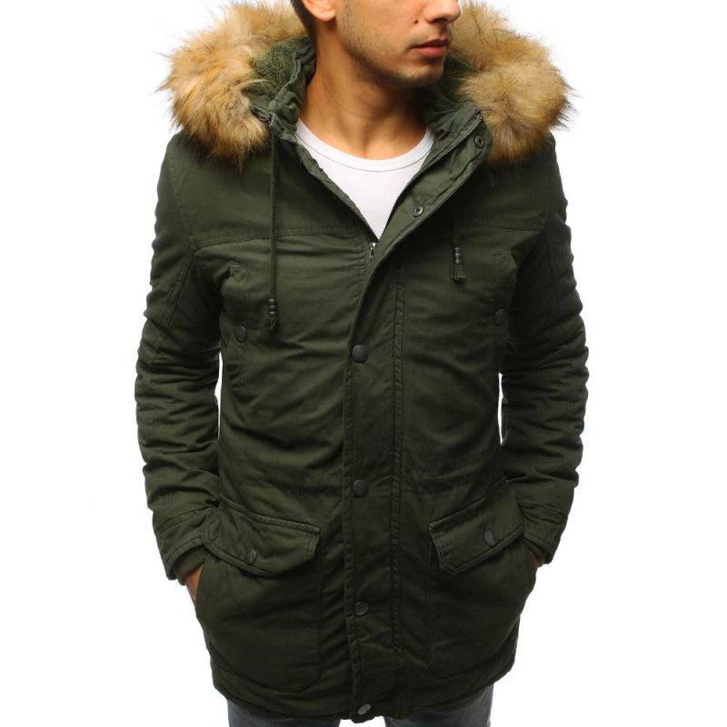Pánská zimní bunda parka zelená