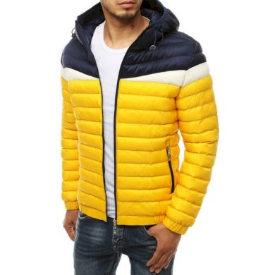 Pánská bunda prošívaná s kapucí žlutá tx3415