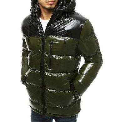 Pánská bunda zimní prošívaná s kapucí zelená tx3530