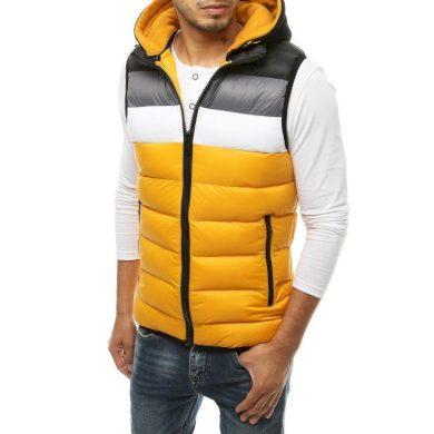 Pánská vesta s kapucí prošívaná žlutá tx3365