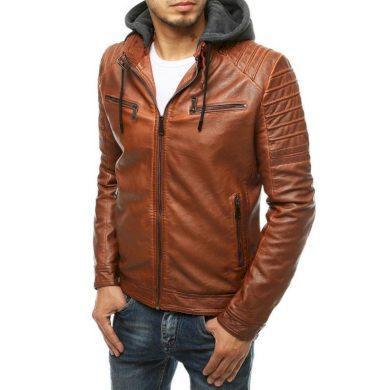 Pánská koženková bunda s kapucí karamelová tx3517