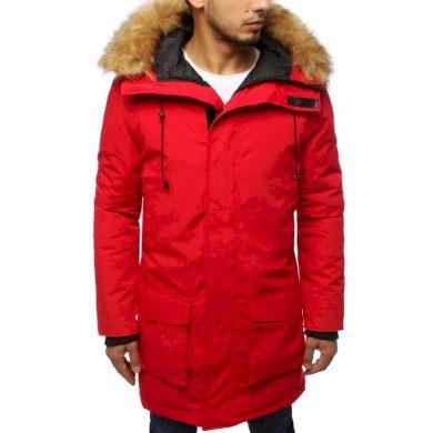 Pánská bunda parka zimní červená
