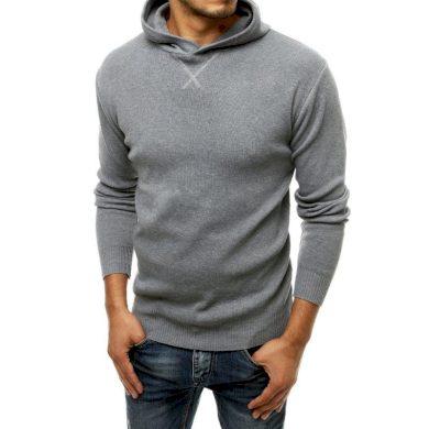 Pánský svetr s kapucí šedý wx1465