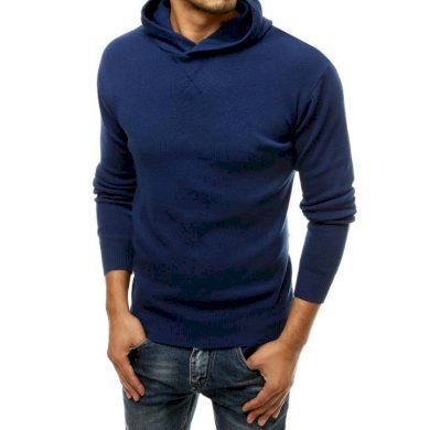 Pánský svetr s kapucí modrý wx1466