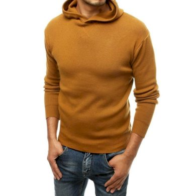 Pánský svetr s kapucí oranžový wx1467