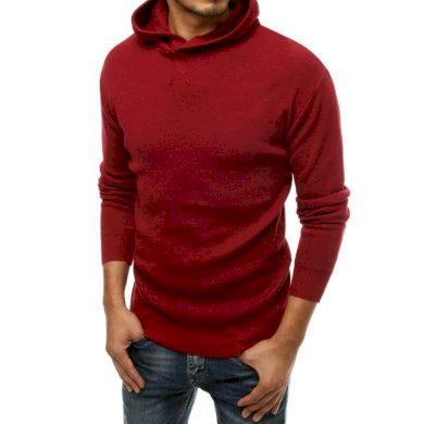 Pánský svetr s kapucí červený wx1468