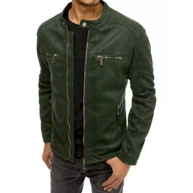 Pánská koženková bunda přechodová zelená LIGHT