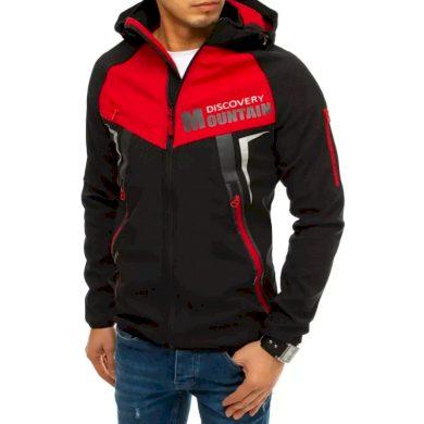 Pánská bunda softshell s kapucí červená  MOUNTAIN