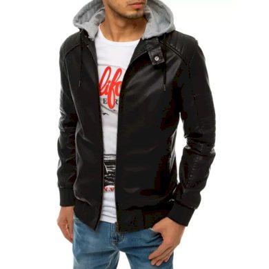 Pánská koženková bunda s kapucí STYLE